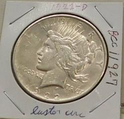 1922-D Peace Dollar, circulated but lusterous