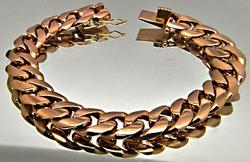18K Rose Gold Curb Link Bracelet, 53.8 grams.