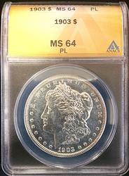 1903 Certified Morgan Silver Dollar ANACS MS64PL