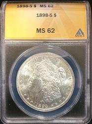 1898-S Certified Morgan Silver Dollar ANACS MS62