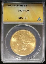 1904 Certified $20 US Gold Liberty ANACS MS63