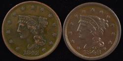 Great sharp 1842 & 1848 Braided Hair Large Cents. Nice