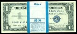 Superb Gem CU pack of 100 1957-A Series $1 Silver Certs