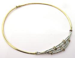 Splendid 3.0 CTW Diamond Omega Necklace in 2 Tone