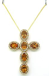 Very Impressive Citrine & Diamond Cross Pendant 6+ CTW