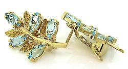 Lovely Blue Topaz Leaf Earrings in 18K