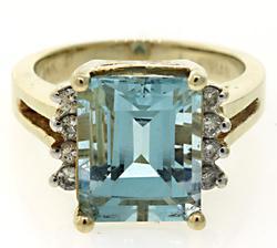 LeVian Aquamarine & Diamond Ring
