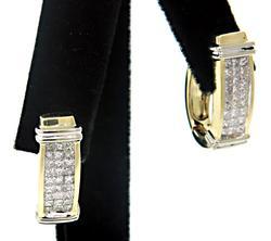 Fashionable Diamond Set J Hoop Earrings