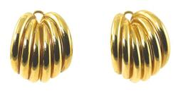 Wide Ridged 14K Earrings with Omega Backs