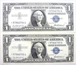 2 Gem Crisp 1957 Star Note Silver Certs Consecutive #'S