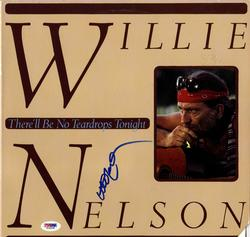 Willie Nelson Signed Therell Be No Teardrops Tonight Album Cover