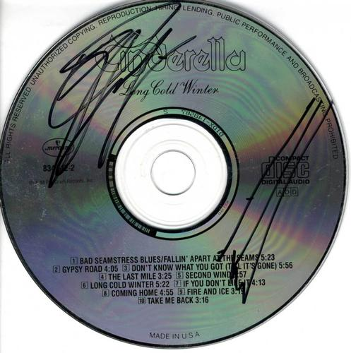 Cinderella Autographed X2 Long Cold Winter Signed CD