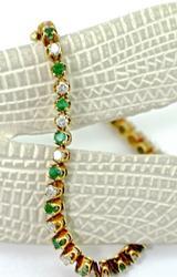 Emerald and Diamond Straight Line 14K Bracelet