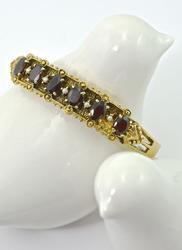 Ornate Vintage Garnet and Pearl 14K Bangle