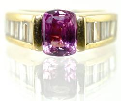 Stunning Pink Tourmaline & Diamond 14K Ring