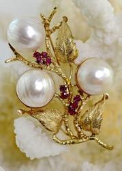 Floral Ruby & Pearl 14K Vintage Brooch