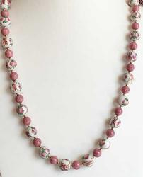 Stunning, White w/ Pink Flowers, Chinese Porcelain Beaded Necklace