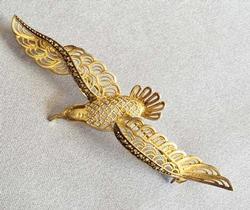 Soaring, Sterling & Marcasite 'Bird' Filigree Figural Pin