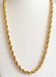 Attractive, Man's or Lady's, Gold Plated Rope Braided' Chain Necklac