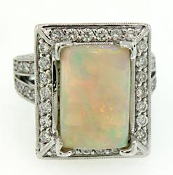 Stately Opal & Diamond Ring in 18K