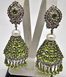 PERIDOT & DIAMONDS CHANDELIER EARRINGS