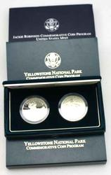 Jackie Robinson Unc and 2 x Yellowstone Unc & Proof Silver Dollars