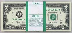 Fresh Pack of 2003 $2 FRN Minneapolis Fed Notes with Original Wrapper