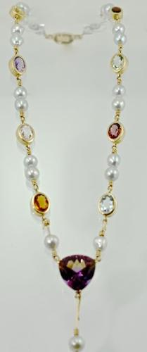 Outstanding Artisan's Pearl, Gold & Colored Stone 14K Necklace