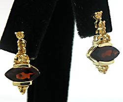 Charming Garnet & Citrine Drop Earrings