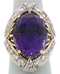 Vintage Amethyst & Diamond Cocktail Ring in 18K