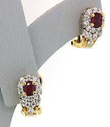 Glamorous Ruby & Diamond Earrings in 18K