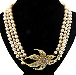 Vintage Style Triple Pearl Necklace with Diamonds