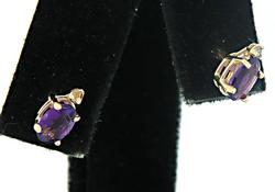 Delightful Amethyst and Diamond Stud Earrings, 14K