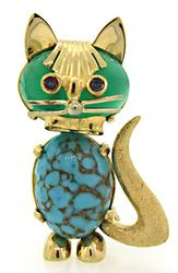 Adorable Turquoise & Onyx Cat Brooch in 18K