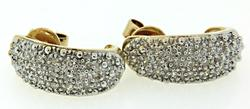 Two Tone Diamond Pave J Hoop Earrings