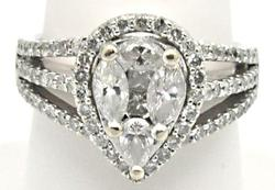 Gorgeous 14kt Gold Pear Cut 2 Carat Diamond Ring