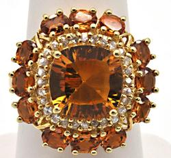 14k citrine and diamond ring, very large citrine