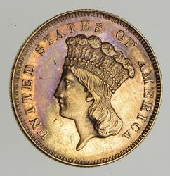 1861 Indian Princess Head Gold 3 Dollars - Rare