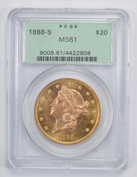 MS61 1888-S $20.00 Liberty Head Gold Double Eagle - PCGS Graded