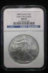 2008 Certified Silver Eagle MS69 NGC Early Release