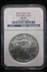 2010 Certified Silver Eagle MS70 NGC Early Release