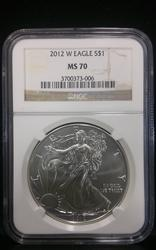 2012 W Certified Silver Eagle MS70 NGC