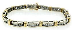 Charming Two Tone Diamond Channel Set Bracelet