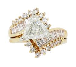 Unique Trilliant Cut Engagement Ring Set