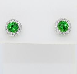 Tsavorite and Diamond Halo Earrings