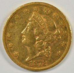 Very Scarce 1872-S Ty 2 $20 Liberty Gold Piece. Nice AU