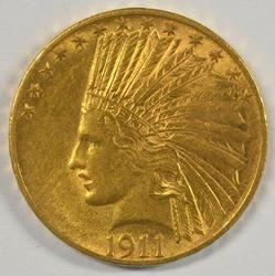 Gorgeous Mint State 1911 US $10 Indian Gold Piece