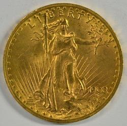 Lovely BU 1908-D No Motto St. Gaudens $20 Gold Piece