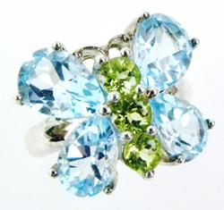 Vibrant Sterling Topaz & Peridot Butterfly Ring