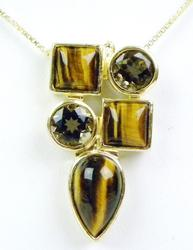Sterling Vermeil Tiger Eye & Smoky Quartz Necklace